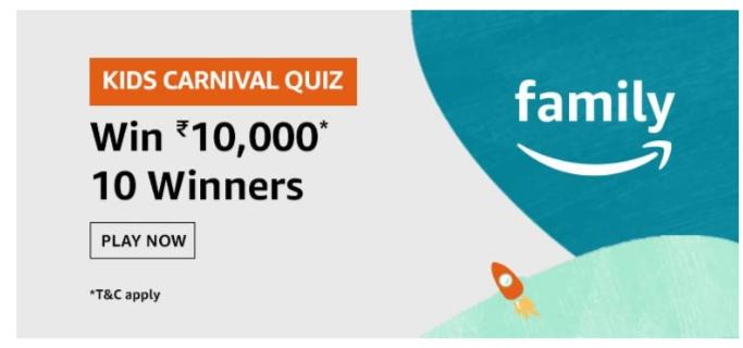Amazon Kids Carnival Quiz Answers: Win Rs.10,000 Pay Balance