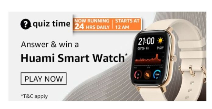 Amazon Quiz 23 March Answers: Win Huami Smart Watch