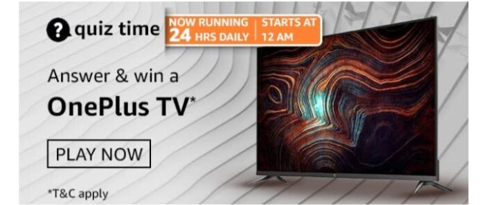Amazon Quiz 25 March Answers: Win OnePlus Tv