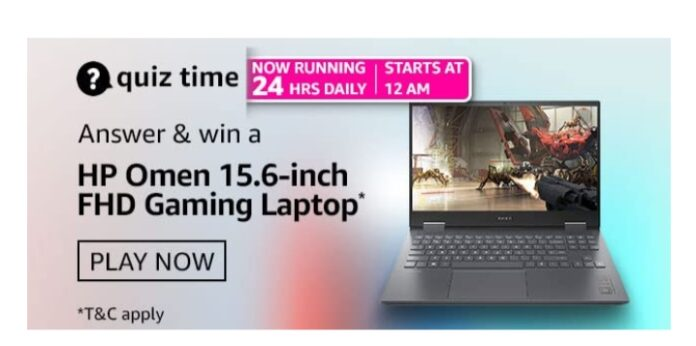 Amazon Quiz 28 March Answers: Win HP Omen 15.6- inch FHD Gaming Laptop